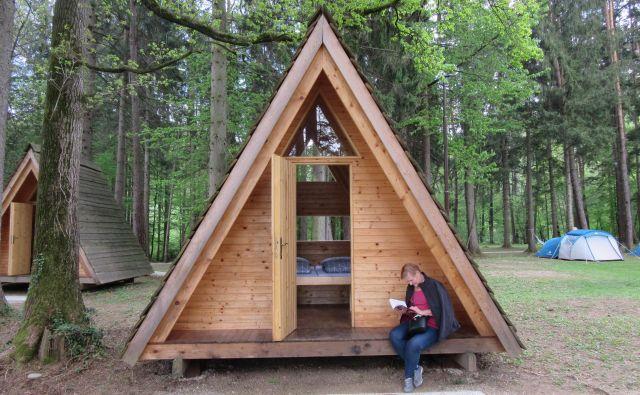 Kaže, da bodo lesene hiške v Gozdni šoli, ki jih je postavil prejšnji najemnik, le dobile goste. Kolikšen del kampa bo tržna dejavnost, v Športni uniji Slovenije še ne vedo, zagotavljajo pa, da bo nekomercialna ponudba vedno del Gozdne šole. FOTO: Špela Kuralt/Delo