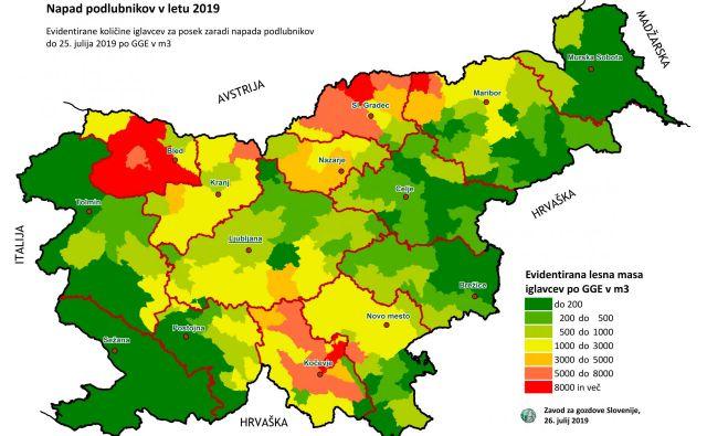 Napad podlubnikov 2019 Vir: Zavod za gozdove, julij 2019<br />