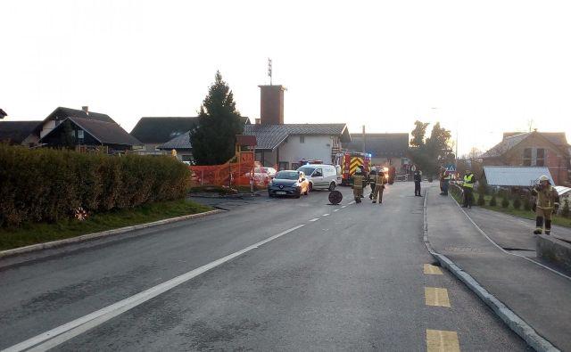Prizor nesreče v Britofu. FOTO: Gasilsko Reševalna Služba Kranj
