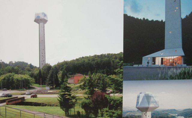 Razgledni stolp Kristal naj bi stal okoli 2,1 milijona evrov. Fotografija je s panoja na javni razpravi. FOTO: Špela Kuralt/Delo