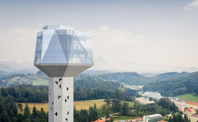 Razgled z vrha 106-metrskega stolpa, za katerega nekateri pravijo, da ni pravi, arhitekt Nande Korpnik pa trdi, da ni zavajajoč in je zelo realen. FOTO: arhiv Občine Rogaška Slatina