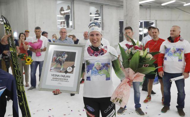 Vesna Fabjan je čustveno doživela zadnje dejanje v bogati športni karieri. FOTO: Leon Vidic/Delo