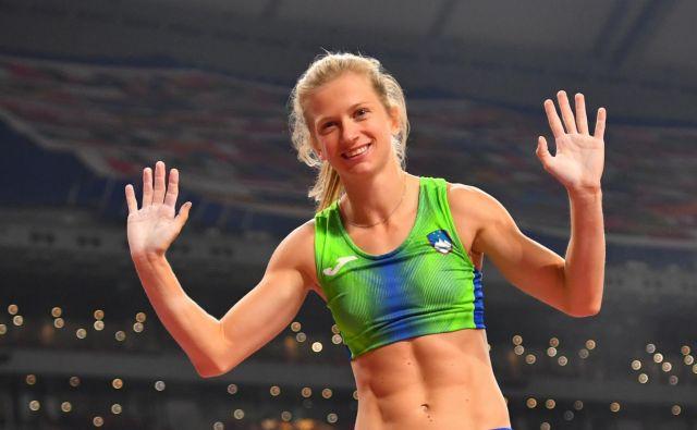 Tina Šutej (Kladivar) je drugi dan atletskega pokala Slovenije (APS) v Ljubljani v skoku s palico dosegla najboljši izid sezone na svetu in nov državni rekord, preskočila je 4,75 m. FOTO: Dylan Martinez Reuters