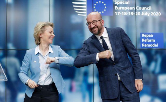 Predsednica komisije Ursula von der Leyen in predsednik evropskega sveta Charles Michel sta bila ob koncu vrha EU optimistična. Znanstvena sfera je razočarana, osupla.<br /> FotoSTEPHANIE LECOCQ / POOL / AFP)