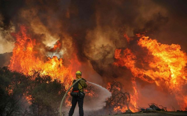 Gašenje požara v bližini Jamula v Kaliforniji, imenovanega Valley fire. FOTO: Sandy Huffaker/AFP