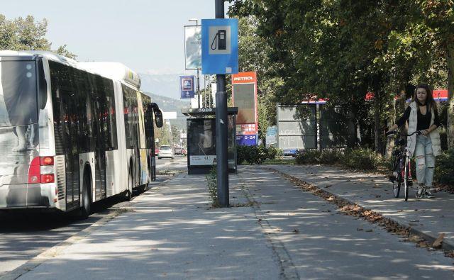 Na postajališču AMZS na Dunajski ustavljajo tudi lokalni avtobusi. Edini prometni znak opozarja na bencinski servis, kamničan pa ustavlja tako kot mestni avtobusi pri nadstrešku. Voznega reda za lokalne avtobuse ni. FOTO: Uroš Hočevar/Delo