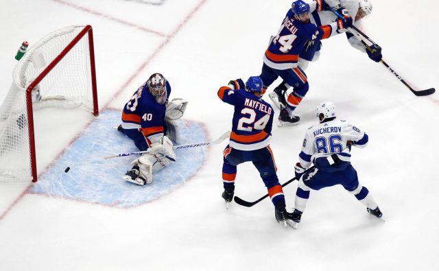 Semjon Varlamov je bil junak zmage Otočanov. FOTO: Perry Nelson/USA TODAY Sports