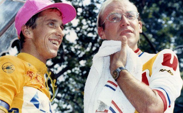 Američan Greg LeMond (levo) in Francoz Laurent Fignon (desno) sta leta 1989 uprizorila podobno razburljiv dvoboj na Touru, kot sta ga slovenska asa Tadej Pogačar in Primož Roglič. FOTO: Charles Platiau/Reuters