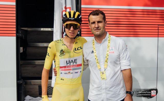 Tadej Pogačar je za Andreja Hauptmana kot družinski član, njegov trener je bil že pri ljubljanskem Rogu. FOTO: UAE Emirates