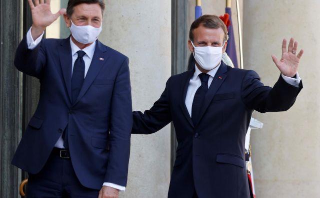 Predsednik Borut Pahor je bil danes pri Emmanuelu Macronu.<br /> FOTO: Ludovic Marin/AFP