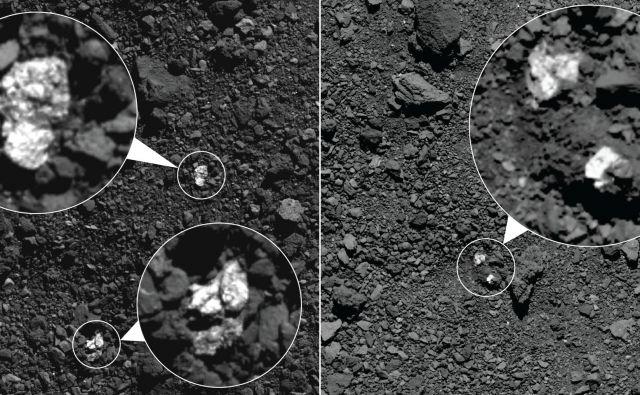 Svetleče skale – gre za piroksen – je sonda fotografirala spomladi 2019. FOTO: Nasa/Goddard/University of Arizona