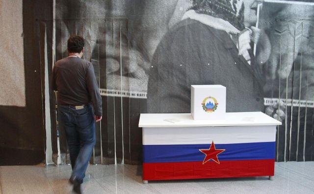 Prizor z razstave v državnem zboru pred petimi leti o plebiscitu FOTO: Leon Vidic/Delo