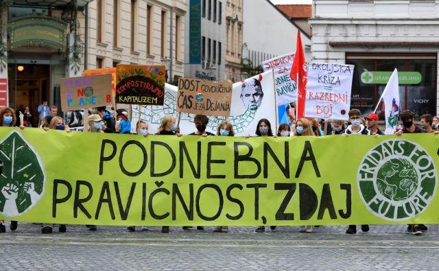 Okoljski protest v organizaciji Mladih za podnebno pravičnost. FOTO: Uroš Hočevar/Delo