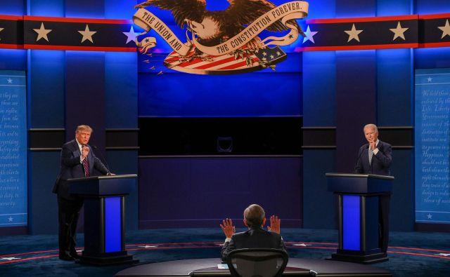 Donald Trump in Joe Biden sta se pomerila v prvem televizijskem soočenju. FOTO:Jim Watson/Afp