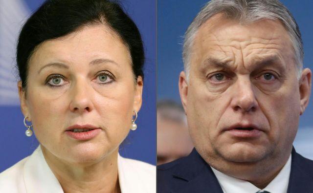 Premier Viktor Orbán je zahteval odstop podpredsednice evropske komisije za vrednote in transparentnost Věre Jourove, ker je kritizirala njegovo delovanje na področju demokracije. FOTO: AFP