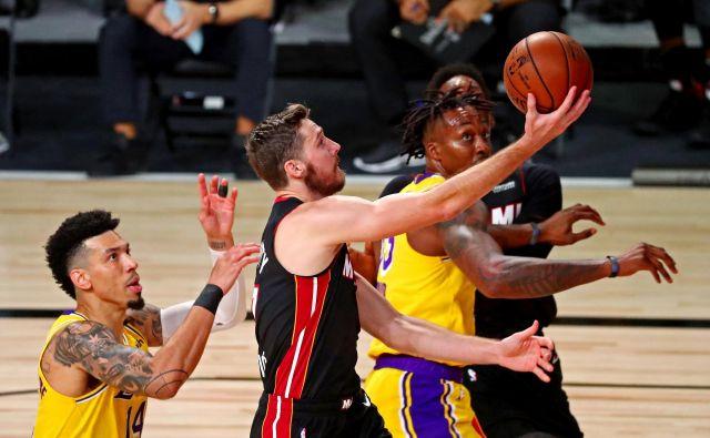 Ne kaže dobro, Goran Dragić bo po vsej verjetnosti izpustil tudi jutrišnjo tretjo finalno tekmo NBA proti LA Lakers, ki je v prednosti v zmagah z 2:0. FOTO: Kim Klement/USA TODAY Sports