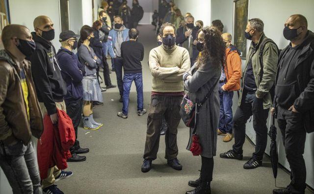 Protest slovenskih filmarjev. FOTO: Voranc Vogel/Delo