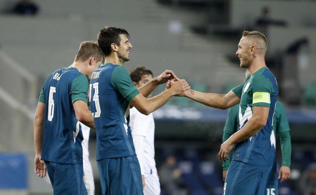 Slovenija je bila petič premočan tekmec za San Marino, ki mu je zabila že dvajset golov. FOTO: Blaž Samec/Delo